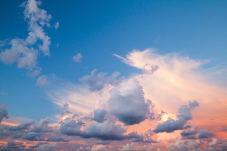 colorful cloudscape: Dramatic colorful cloudscape, summer evening sky background texture with different types of clouds: cirrus, altocumulus, nimbostratus, cumulus, stratocumulus