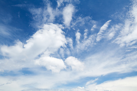 skyscape: Cirrus, cumulus and altocumulus. Blue sky with different types of clouds, natural background photo Stock Photo