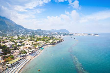 Coastal landscape with beach of Forio, Ischia Island, Italy 스톡 콘텐츠