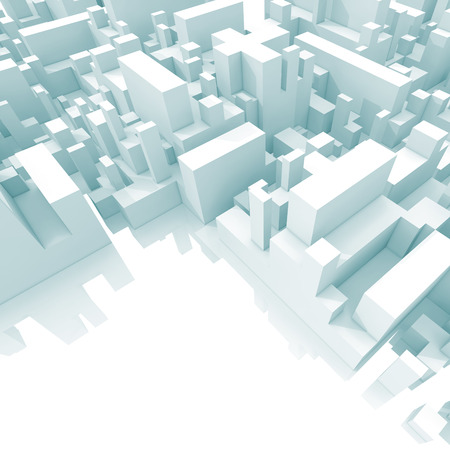 down town: Abstract schematic light blue 3d cityscape with soft shadows