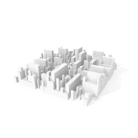 city block: Abstract schematic 3d city block isolated on white background with soft shadow