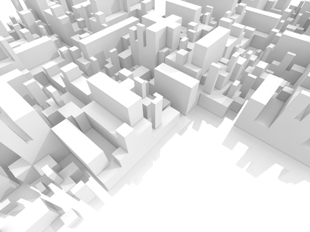 space   area: Abstract schematic white 3d cityscape with reserved free space area Stock Photo