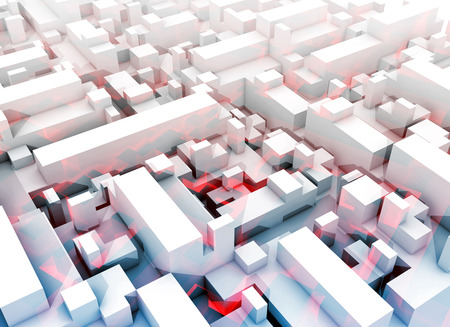 3 d: Abstract digital white 3d cityscape with soft light blue shadows and red pattern Stock Photo