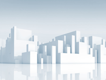Abstract white schematic 3d cityscape with light blue shadows 写真素材
