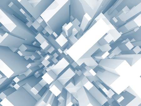 down town: Abstract schematic light blue 3d cityscape, top view with perspective effect Stock Photo