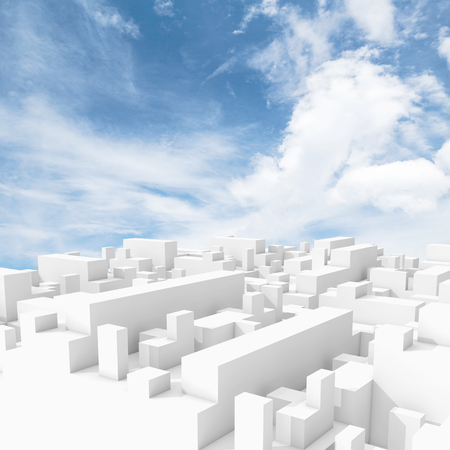 urban background: Abstract white digital 3d cityscape with natural bright cloudy sky on a background Stock Photo