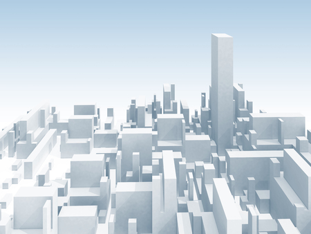 highest: Abstract schematic white 3d cityscape skyline with one the highest skyscraper Stock Photo
