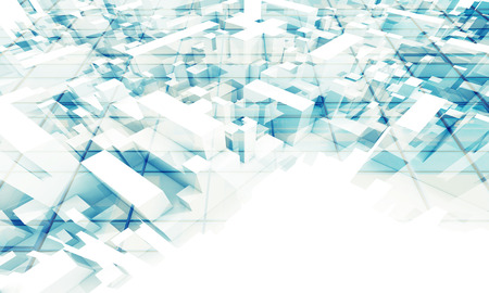 chaotic: Abstract 3d geometric digital background with chaotic boxes perspective
