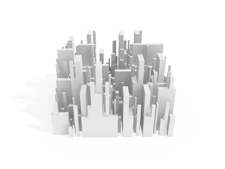 Abstract schematic white 3d cityscape quarter with soft shadow isolated on white Stock Photo
