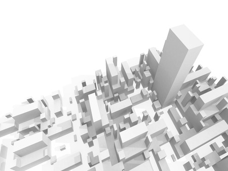 highest: Abstract schematic white 3d cityscape with one the highest skyscraper Stock Photo