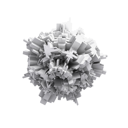 spheric: Abstract digital 3d spheric object with chaotic extruded surface isolated on white