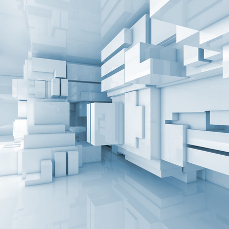 interior decoration: Abstract blue empty room, high-tech interior with chaotic cubes constructions, 3d illustration