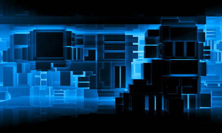 Abstract black high-tech interior background with chaotic cubes constructions and neon lights, 3d illustration
