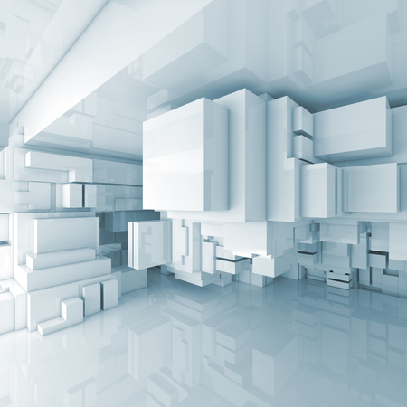 modern architecture: Abstract square high-tech interior background with chaotic cubes constructions, 3d illustration