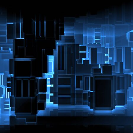 absract: Abstract square black high-tech interior background with chaotic cubes constructions and neon lights, 3d illustration