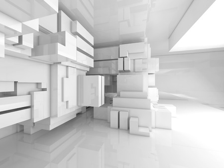 wall: Abstract empty white room high-tech interior with chaotic cubes constructions, 3d illustration Stock Photo