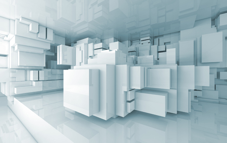 chaotic: Abstract high-tech interior with chaotic cubes constructions, 3d illustration Stock Photo