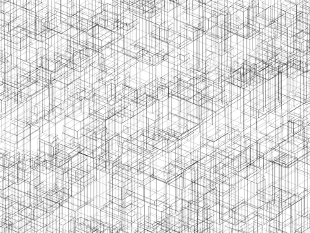 3d abstract backdrop: Digital 3d background texture with black wire frame lines, chaotic cubic structure over white background