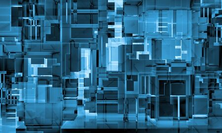 absract: Abstract neon blue high-tech background texture with chaotic cubes constructions, 3d illustration