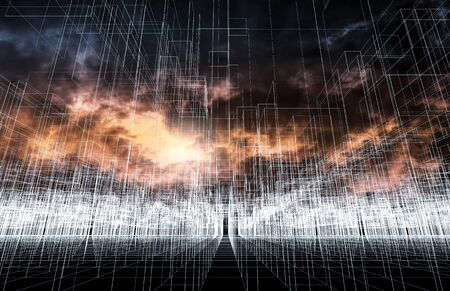 stormy sky: Digital 3d landscape background with chaotic cubic structure, white wire-frame lines over dark stormy sky background