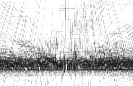 wire frame: Digital background texture with 3d wire frame structure, perspective view. Black lines over white background