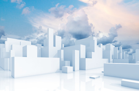 Abstract white 3d cityscape over natural cloudy sky background