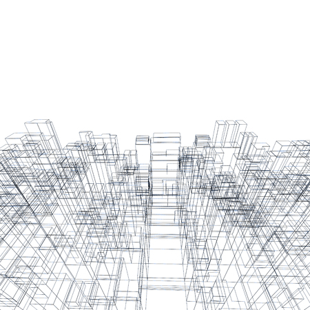 wire frame: Digital background texture with cubic 3d structure, wire frame lines over white background Stock Photo