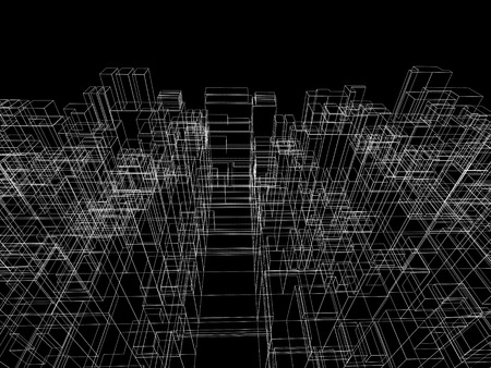 square abstract: Digital background with cubic 3d structure, white wire-frame lines over black background