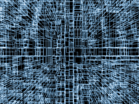 wire frame: Digital background with cubic 3d structure, glowing blue wire frame lines over black background Stock Photo