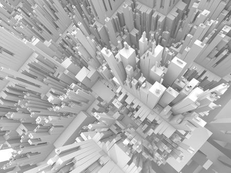 Abstracte futuristische 3D stadsbeeld perspectief bovenaanzicht, 3d illustratie Stockfoto