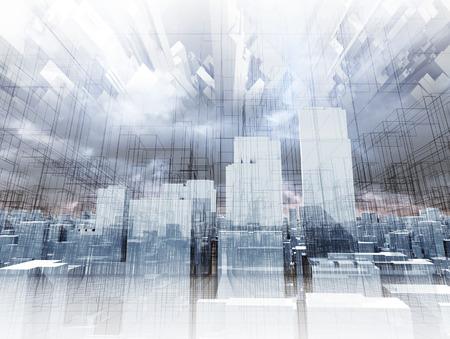 Abstracte digitale stadsbeeld, wolkenkrabbers en chaotisch draad frame constructies in bewolkte hemel, 3d illustratie Stockfoto