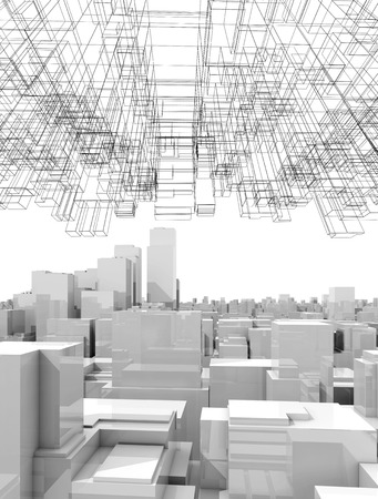tall: White digital cityscape with tall skyscrapers and abstract wire-frame structure in the sky, 3d illustration Stock Photo