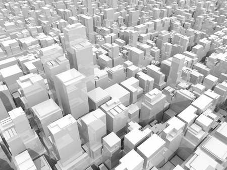 Abstract digital white cityscape with tall office buildings and skyscrapers, 3d illustration