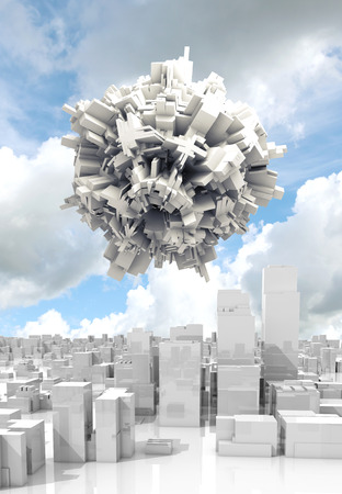 spheric: Abstract digital 3d spheric object with chaotic extruded surface flying in cloudy sky over white cityscape