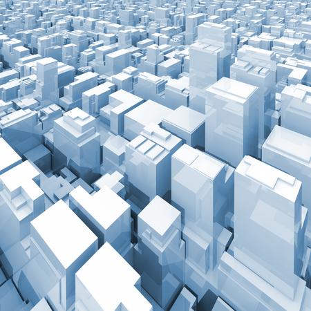 높이 디지털 초고층 건물 고층 빌딩 및 사무실 건물, 블루 톤된 사각형 3d 그림