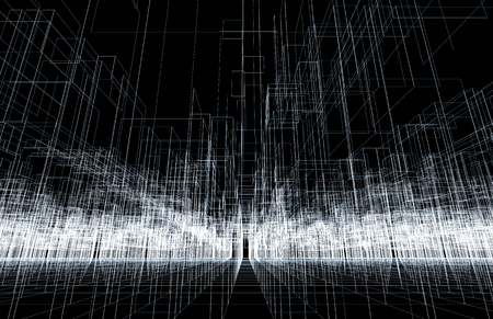 wire frame: Digital background texture with 3d wire frame structure, perspective view. White lines over black background