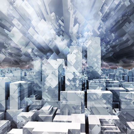 dramatic sky: Abstract digital stormy cityscape, skyscrapers and chaotic cubic constructions in dark cloudy sky, 3d illustration Stock Photo