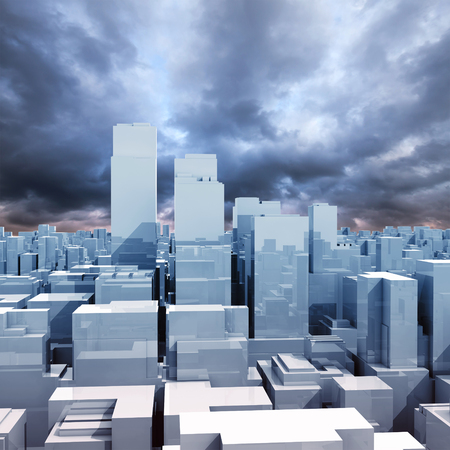 stormy: Abstract digital cityscape, shining skyscrapers under dark stormy cloudy sky, 3d illustration Stock Photo