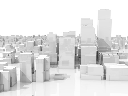 box construction: Abstract white 3d cityscape skyline with tall skyscrapers isolated on white background