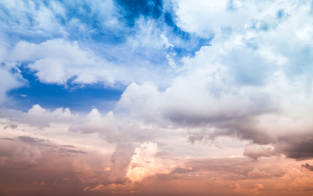 colorful cloudscape: Dramatic colorful cloudscape, summer evening sky background texture with different types of clouds Stock Photo