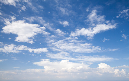 Natural blue cloudy sky. Background photo texture Banco de Imagens