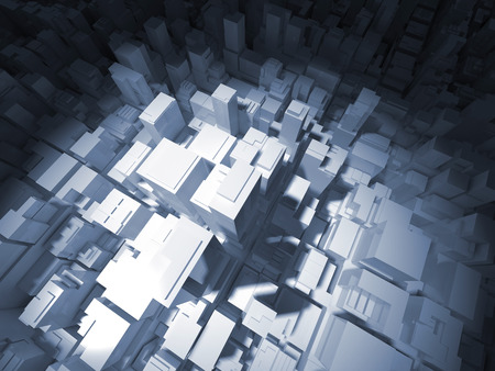 down town: Abstract digital white cityscape with tall office buildings in spotlight, 3d illustration Stock Photo