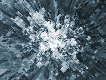 抽象的な混沌とした近未来的な構造の視点、平面図、3 d イラストレーション