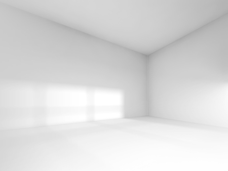 Abstract white interior, empty room with soft light illumination. 3d render illustration