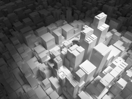 tall buildings: Abstract digital cityscape with tall buildings in spotlight, 3d illustration