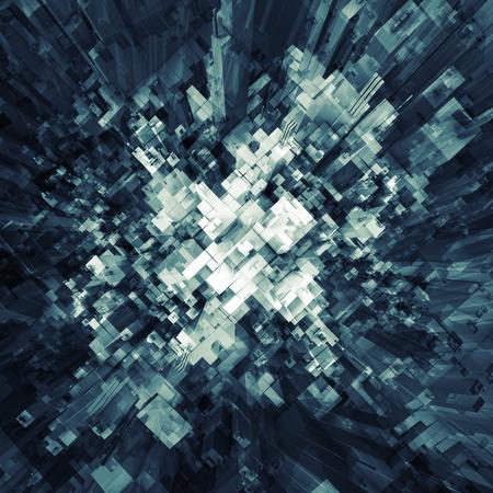 Abstrakt kaotisk futuristiska struktur perspektiv ovanifrån, fyrkantiga 3d illustration Stockfoto