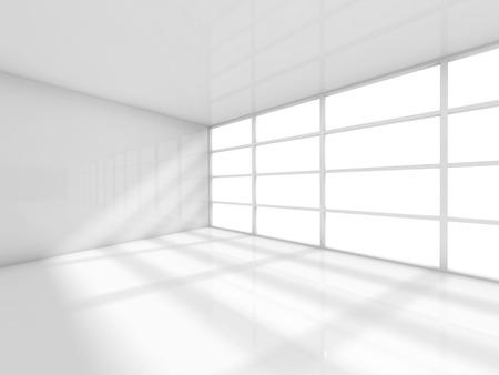 추상 흰색 인테리어, windows와 빈 사무실 방. 3d 렌더링 일러스트 레이션