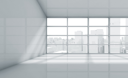 white window: Abstract white interior of an empty office room with cityscape in the window. 3d render illustration