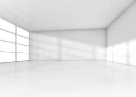 抽象的なインテリア、白と空の部屋窓からの昼光。3 d レンダリング図