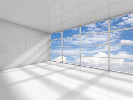 Abstract white interior of an empty office room with clouds behind the window. 3d render illustration